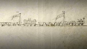 Train drawn by Jonathan Backhouse, 1825