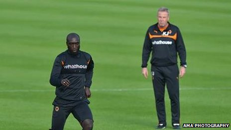 Yannick Sagbo and Wolves manager Kenny Jackett