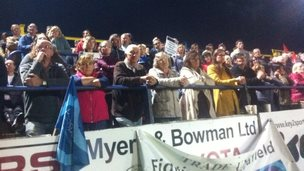 Crowds at public meeting at Whitehaven rugby ground