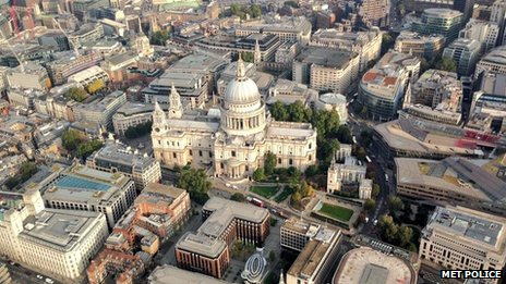 Aerial shot of St Paul's