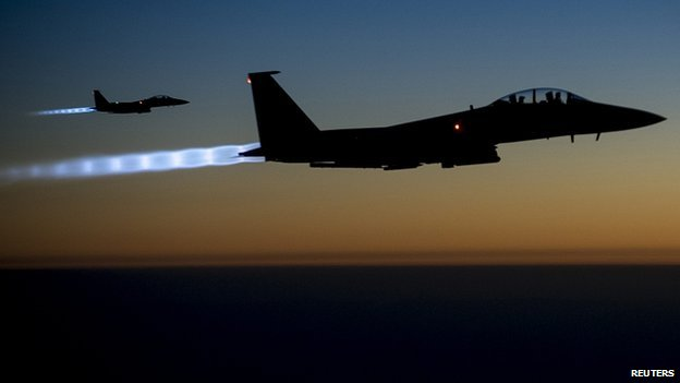 US Air Force F-15E Strike Eagles fly over northern Iraq after conducting air strikes in Syria. 26 Sept 2014