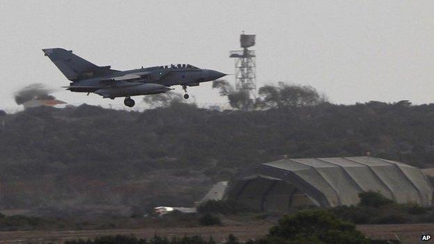 British Tornado jet landing at RAF base in Akrotiri, Cyrpus
