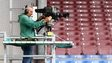 Camera man at a Premier League football match