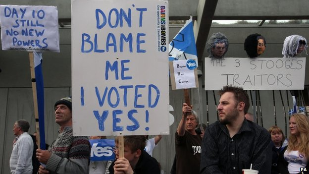 YES campaigners protesting outside the Scottish Parliament in Edinburgh following the Scottish independence referendum result last week