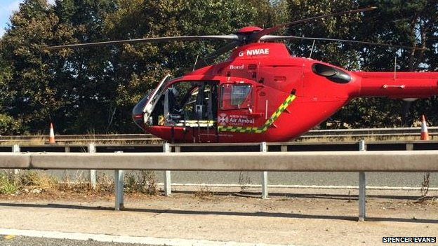 Air ambulance on M53