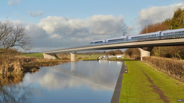 artist's impression of HS2 viaduct