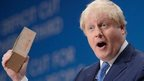 Boris Johnson addressing the Conservative party conference