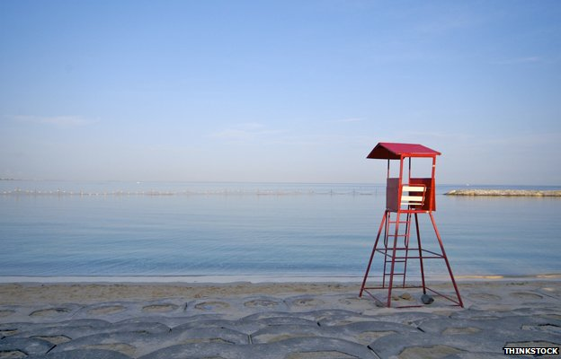 Empty lifeguard's chair on a Japanese beach