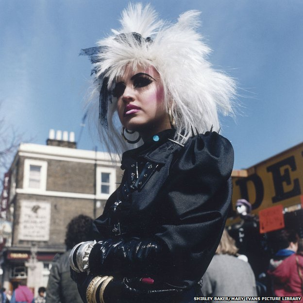 Girl Punk with white wig in Camden, London