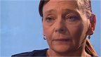 Close up of Barbara Henning making appeal for release of her husband, Alan