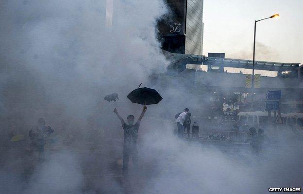 Umbrella protester