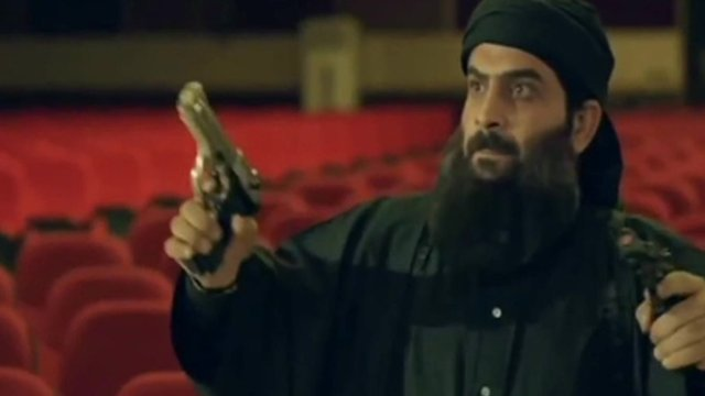 A character depicting IS leader Abu Bakr Al-Baghdadi