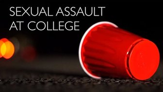 A cup on the ground outside a party with the title 'Sexual Assault at College'