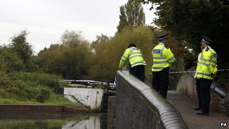 Police search by towpath