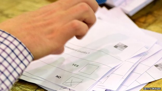 Votes being counted at the Scottish referendum