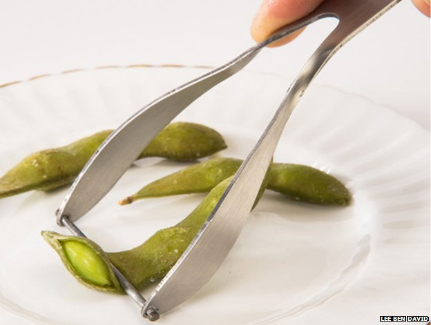 A device for getting edamame beans from the pod