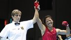 India's MC Mary Kom celebrates as she is announced winner of the women's flyweight (48-51kg) final boxing match against Kazakhstan's Zhaina Shekerbekova at the 17th Asian Games in Incheon, South Korea, Wednesday, Oct. 1, 2014