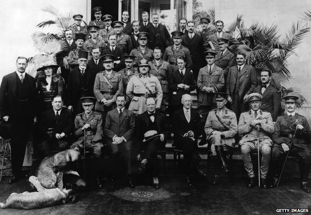 1921: Members of the Mesopotamia Commission, set up to discuss the future of Mesopotamia at the Cairo Conference. Included in the photograph are Gertrude Bell (second from left, second row), T E Lawrence (fourth from the right, second row) and Winston Churchill (centre front row) (c) Getty