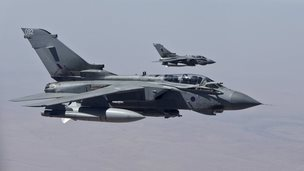Two Tornado jets in flight