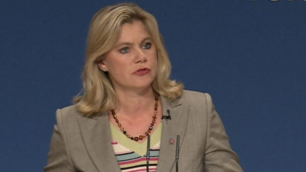 Justine Greening addressing the Conservative conference