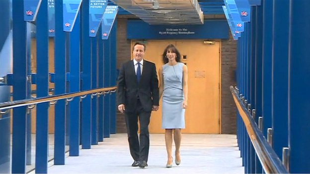 David Cameron arriving with his wife Samantha