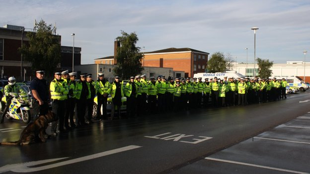 Cheshire Police officers at a briefing about tackling vehicle-related crime