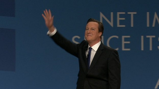 David Cameron entering the stage