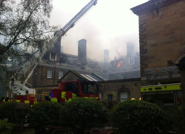 Fire at Crathorne Hall at Yarm