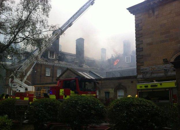 Fire at Crathorne Hall at Yarm