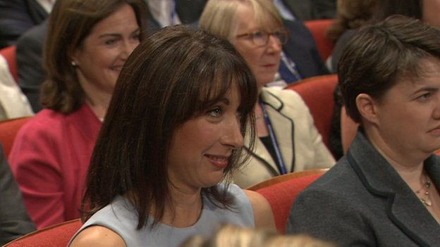 Samantha Cameron watching her husband
