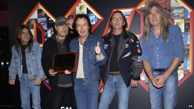 Malcolm Young, Brian Johnson, Angus Young, Phil Rudd and Cliff Williams