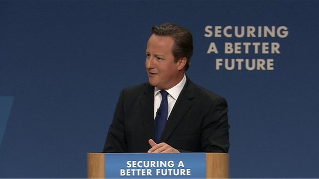 David Cameron addressing the conference
