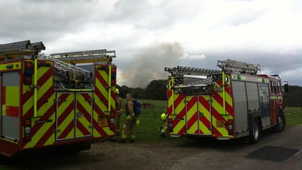 Fire engines at Crathorne Hall Hotel