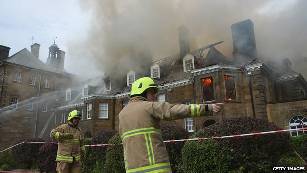 Firefighters tackling blaze