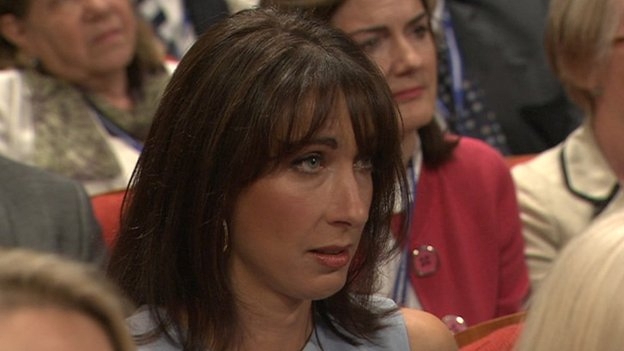 Samantha Cameron watches her husband speak of the death of their son