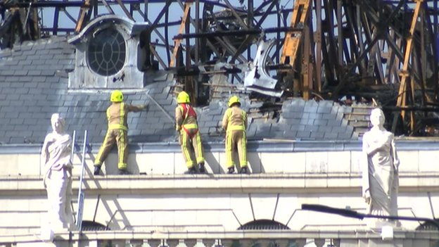 Firefighters on ledge of Majestic