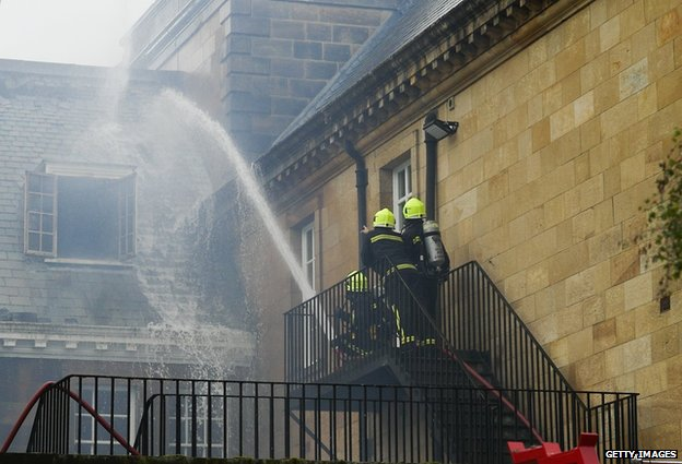 Firefighters on steps