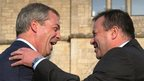 "Leader of Ukip Nigel Farage holds a press conference with the party""s new donor Arron Banks"