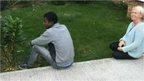 Man in Jacky Goodfellow's garden