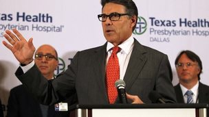 Texas Governor Rick Perry speaks at a media conference at Texas Health Presbyterian Hospital in Dallas, Texas October 1, 2014.