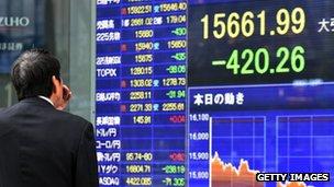 Share price board, Tokyo