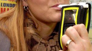 Person having a breath test