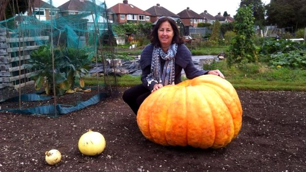 Judy Cooper from Solihull with giant