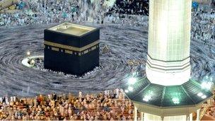 Pilgrims walk around the Kaaba