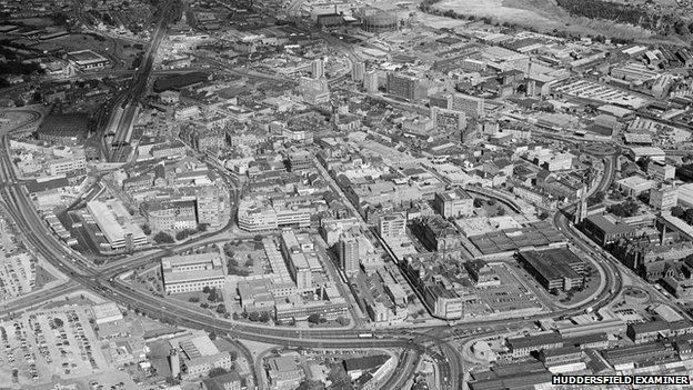 Huddersfield from the air in 1986
