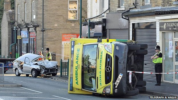 Ambulance on its side