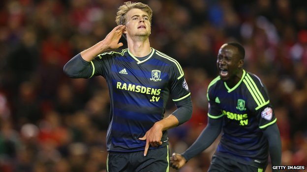 Patrick Bamford of Middlesbrough celebrates scoring