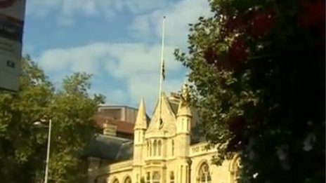 Ealing Town Hall flag at half mast