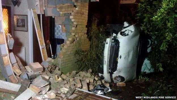 Car drives into house