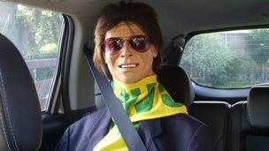 Sir Cliff Richard replica in David and Jill Stolworthy's car